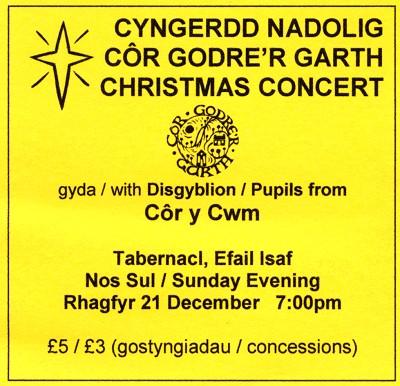 Cyngerdd Nadolig 21 Rhagfyr 2008